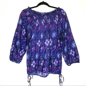 Lucky Brand Smocked Pin-tuck 3/4 Sleeve Blouse
